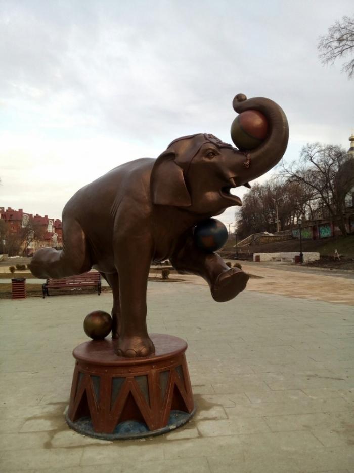 У цирка в Рязани установили фигуры слонов