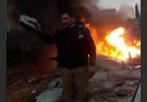 Кадр видео с места падения Су-25 в Сирии