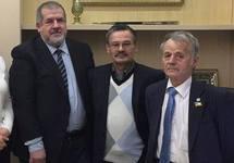 Рефат Чубаров, Рафис Кашапов и Мустафа Джемилев в Киеве. Фото с ФБ-страницы Чубарова