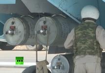 Кассетные бомбы на российском самолете, авиабаза Хмеймим. Кадр RT
