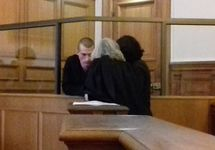 Петр Павленский в суде.  Фото с ФБ-страницы Оксаны Шалыгиной