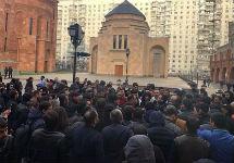 Акция у армянского храма в Москве. Фото: kavkaz-uzel.eu
