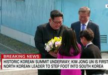 Встреча лидеров двух Корей. Кадр CNN