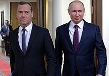 Дмитрий Медведев и Владимир Путин в Госдуме, 08.05.2018. Фото: kremlin.ru