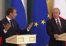 Пресс-конференция Макрона и Путина в Петербурге. Кадр kremlin.ru