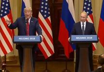 Пресс-конференция Путина и Трампа в Хельсинки, 16.07.2018. Кадр трансляции
