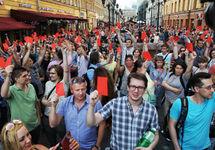 Акция против пенсионной реформы в Петербурге. Фото Давида Френкеля (twitter.com/merr1k)