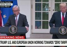 Юнкер и Трамп после переговоров. Кадр CNN