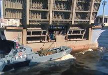 Столкновение катера с мостом. Источник: fontanka.ru
