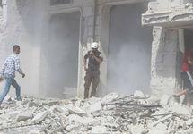 После бомбежки в Хабите. Фото из твиттера @SyriaCivilDef