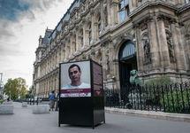 Стенд, посвященный Сенцову, у парижской мэрии. Фото: paris.fr