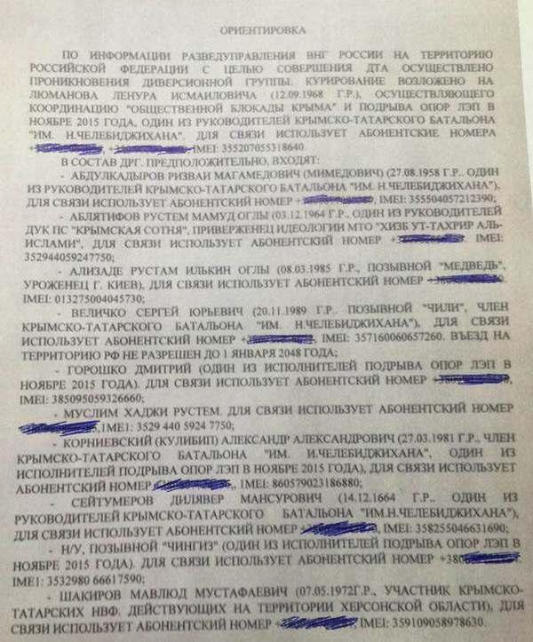 Росгвардия: В Россию проникла крымскотатарская диверсионная группа